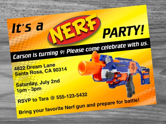 Dart Gun Birthday Party Invitation Custom Made Very High