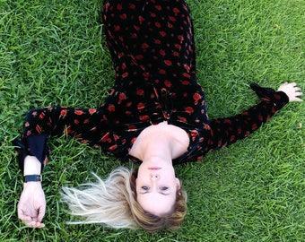 Velvet Rose Burnout Dress