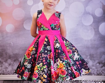 Lillys Lapel Party Dress. PDF sewing pattern for toddler girl sizes 2t - 12.