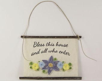 Bless This House, Paper Quilled Home Blessing Sign, 3D Quilled Banner, Purple Blue Yellow Wall Decor, Housewarming Gift, Rustic Paper Art