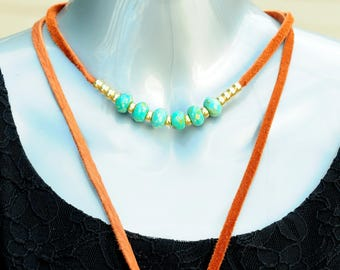 Czech Glass, French Brass and Leather Lariat Necklace