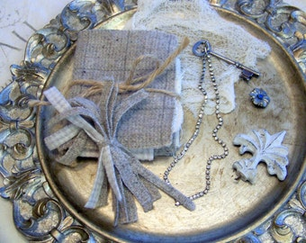 Mini journal Starter KIT, wool remnant pages, old button, supplies, rhinestone necklace, fleur de lis finding, skeleton key