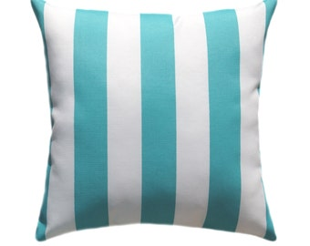 "Premier Prints Stripes Ocean Outdoor Decorative Pillow - Aqua Blue and white 2"" stripe - Free Shipping"