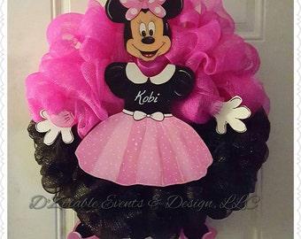 Minnie Mouse Birth Announcement Wreath