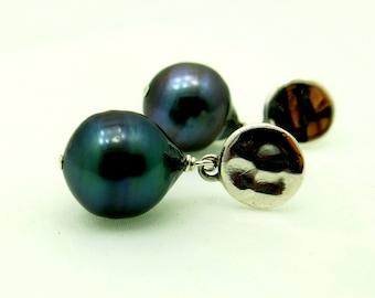 Natural Color Tahitian Black Pearl Earrings On Sterling Silver Posts