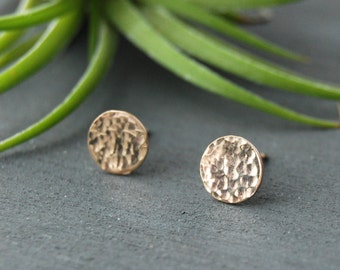Hammered Disc Earrings, Disc Earrings, Gold Disc Earrings, Hammered Earrings, Small Circle Earrings, Circle Earrings