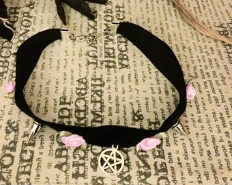 Pastel Goth Roses and Spikes Black Velvet Choker Necklace With Pentagram Charm