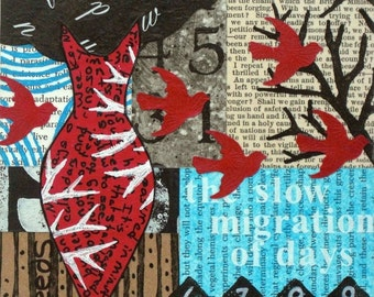 Original Mixed Media Abstract Collage by Kim Hambric - Slow Migration