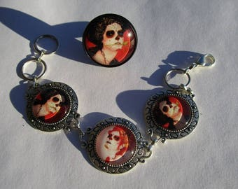 This bracelet style calaveras and its matching ring