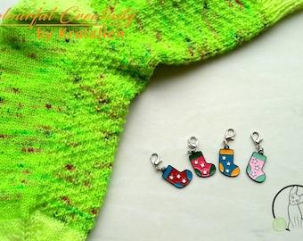 Stitch marker set enamel socks