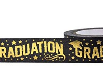 Gold Foil Fox Graduation Tape . 10 yards (1 roll) Graduation Foil Washi Tape