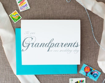To Our Grandparents On Our Wedding Day Card | Traditional Wedding Stationery | Card for Grandparents on Your Wedding Day | Grandma & Grandpa