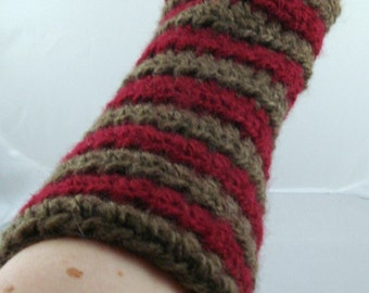 Brown and Burgundy Striped Crocheted Arm Warmers (size M-L) (SWG-AW-MJ08)