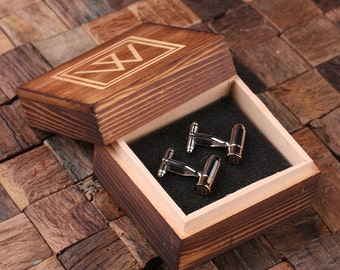 Bullet Cuff Link Personalized Men's  Monogrammed Engraved Groomsmen, Best Man, Father's Day Gift