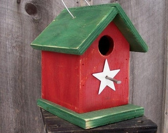 Primitive Red and Green Birdhouse Wren Chickadee Small Songbirds White Metal Star Rustic Wooden Hanging Handmade Birdhouse