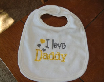 Embroidered Baby Bib - I Love Daddy - Neutral - Yellow/Gray