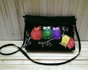 Fun style hand painted fabric colored OWL Crossbody bag
