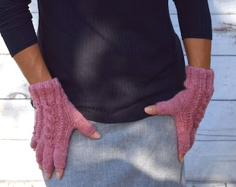 Wool fingerless gloves pink heather cable knit gloves gift for her womans gift spring fall Christmas gift for her womens gloves mitts