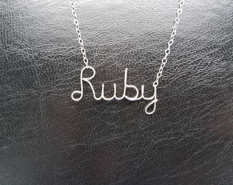 """Sterling Silver Name Necklace """"Ruby"""" Personalised Necklace Custom Name Necklace Word Sterling Silver Word Necklace Wire Name Necklace"""