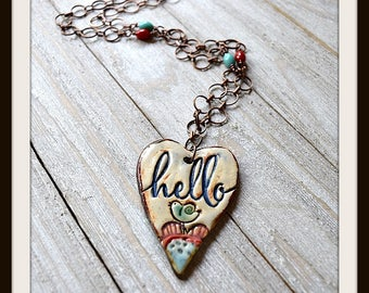 "Artisan Made ""Hello"" Pendant Necklace"