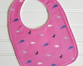 Baby Bib/Infant--18 mo./Mini Dino in Fuschia/Organic Fleece Back