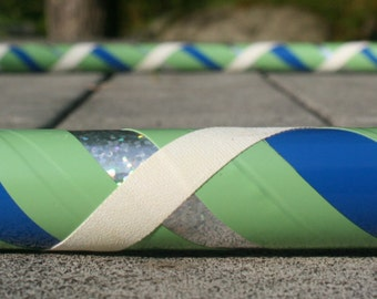 Collapsible Hula Hoop- Blue Moon- Blue, green, white, and silver