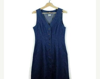 ON SALE Vintage Lee Denim Button down Sleeveless Long Dress  from 90's*
