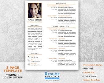 Acting Resume Template Word - Resume Design Template for Word - Actor Resume Template Word -