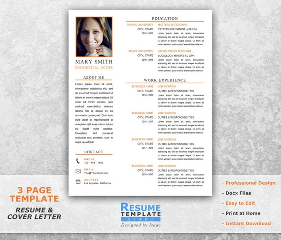 Acting Resume Template Word Resume Design Template For Word