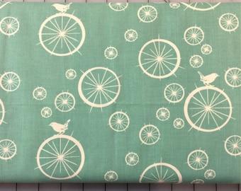 HALF YARD cut of Organic Cotton - Mod Basics - Birdie Spokes - MB-03-Teal