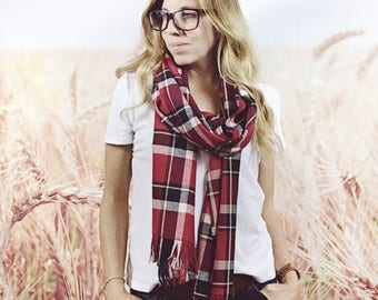 Long Red Plaid Scarf with Fringe, Plaid Pashmina Scarf, Tartan Scarf, Fall Fashion, Autumn Scarf, Red Tartan Wrap Scarf, Plaid Flannel Scarf