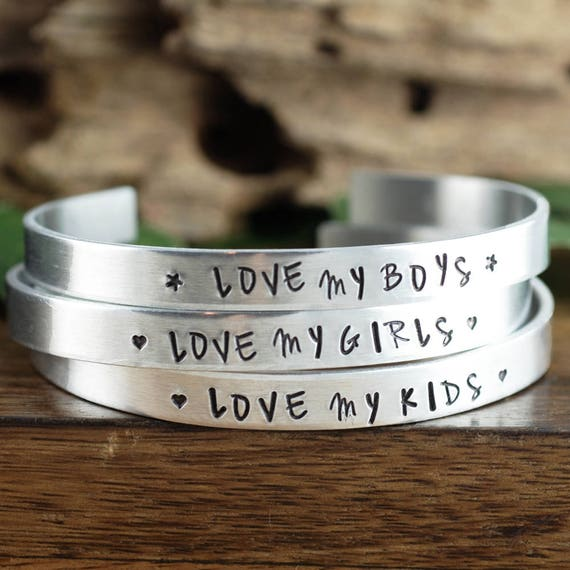 Mother's Cuff Bracelet, Mom of Boys, Mother Bracelet, Bracelet for Mom, Love My Boys, Love My Girls, Mom of Girls, Gift for Mom