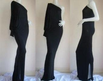 Black one shoulder long evening dress elegance all size
