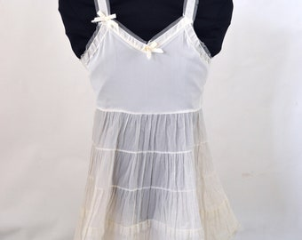 1940s/1950s White Girls Slip by Her Majesty, Tiered Skirt, Size 6
