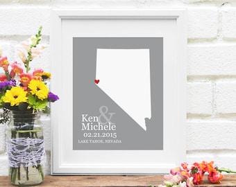 Nevada State Map Art Print, Nevada Wedding Map, Las Vegas Wedding Map, Elopement Gift, Destination Wedding Anniversary -  Print