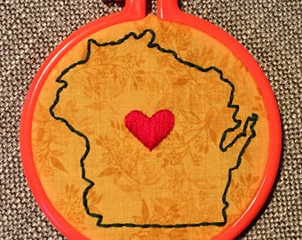 Wisconsin State Shape Handmade Embroidery
