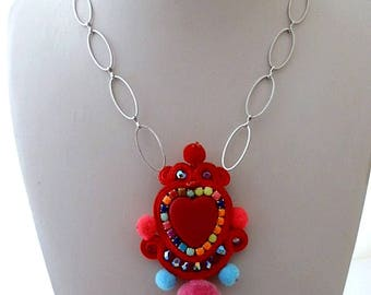 red heart statement colorful pompom necklace