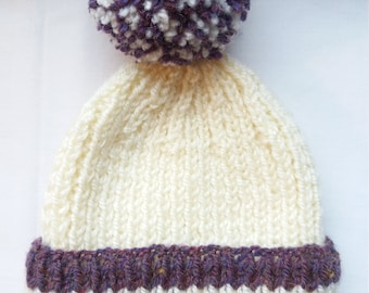 Hand Knitted Cream and Plum Pom Pom Hat Size 1-3 Years