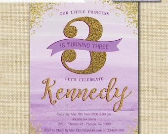 Princess Birthday Invitations, Gold Glitter Invites, Girls and Tween Birthday, Printed Eco Cards or DIY Printable, FREE SHIPPING, PI_01