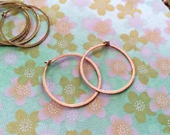 "Rose Gold Hoops 1"" Small Thin Hammered Hoop Earrings 25mm Rose Gold Filled Hoops Minimal Everyday Hoops Bellanti Jewelry"