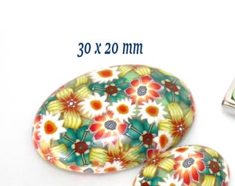Oval cabochon in polymer clay / floral green orange yellow