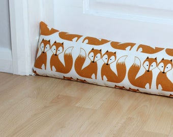 Orange Fox Fabric Draught Excluder Scandi Fabric Animal Print Home Decor Kids Decor Nursery UK only