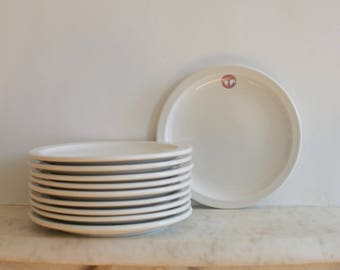 Vintage United States Army Medical Department China Diner Dishes, Lot of 10 Plates, Iroquois, Syracuse, Shenango, Military
