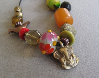 Long Beaded Layering Necklace Ganesha african beads vintage gemstones jade brass copper lamp work glass on Waxed Cotton Cord