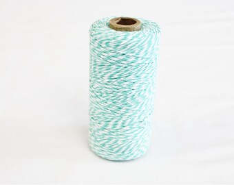 Spool of Teal and White Bakers Twine - 240 yards