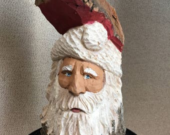 Santa carved from cottonwood bark