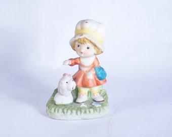 1430 Girl Homco Dog Figurines Vintage Figurine Dogs Porcelain Ceramic Girls Homeco
