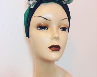 Green and cream 'Forties' inspired turban, topknot, facinator, attached to an Alice band.