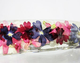 Verbena Blossoms, Large High End  Barrette, Real Pressed Flowers,  French Clasp, Resin (1915)