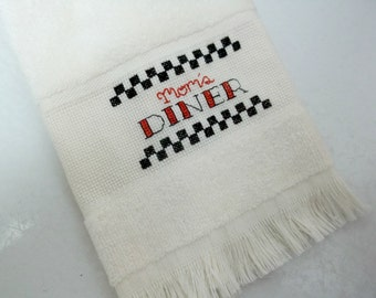 Retro Style Mom's Diner Cross Stitch Fingertip Towel Mom Gift